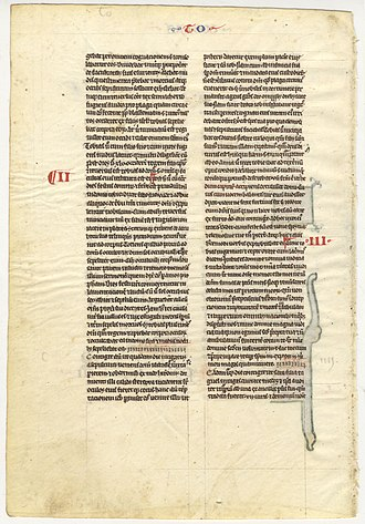 Book of Tobit - Leaf from a vellum manuscript, c. 1240.