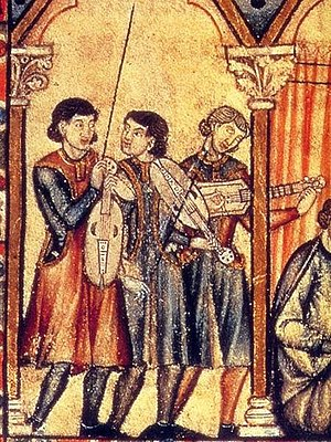 Troubadour - Musicians in the time of the Cantigas de Santa Maria. These would have been in the court of the king, two vielle players and one citoler.