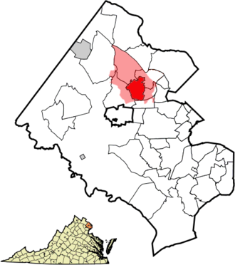 Vienna, Virginia - The Vienna, VA postal area (pink) compared to the town limits (red).