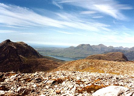 The view north west from the summit of An Ruadh-stac takes in Beinn Damh, Upper Loch Torridon and Beinn Alligin.