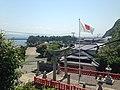 View from Kengyu Shrine in Ebisu Shrine (torii of Munakata Grand Shrine and pine trees).JPG