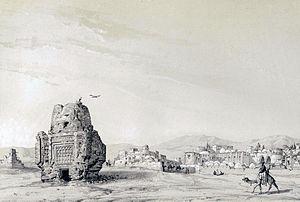Takestan - Village Siadeh (Takestan) by Eugène Flandin in 1840
