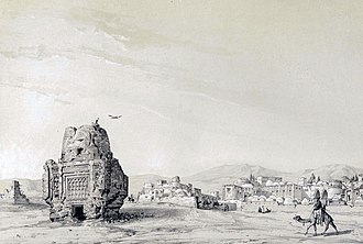 Takestan - Village Siadeh (Takestan) by Eugène Flandin in 1840