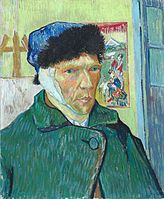 A portrait of Vincent van Gogh from the right; he is wearing a winter hat, his ear is bandaged and he has no beard.
