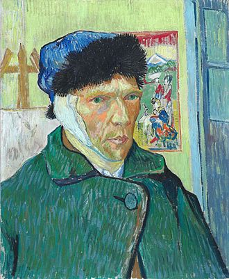 Jug in the Form of a Head, Self-Portrait - Image: Vincent van Gogh Self portrait with bandaged ear (1889, Courtauld Institute)