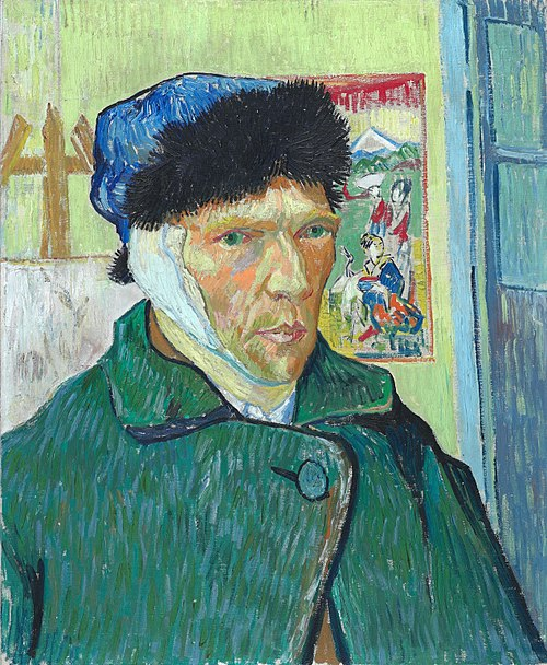 Self-Portrait with Bandaged Ear, by Vincent van Gogh; oil on canvas; Arles, January 1889 Vincent van Gogh - Self-portrait with bandaged ear (1889, Courtauld Institute).jpg