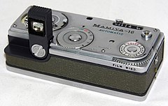 Vintage Mamiya 16 Automatic Spy-Type Film Camera, Made In Japan, A Subminiature Viewfinder Camera, Uses 16mm Film, Introduced In 1959 (16531185670).jpg