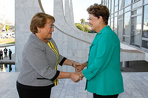 Brazil–Chile relations - Presidents Michelle Bachelet and Dilma Rousseff in Brasília, Brazil.