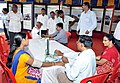 Visitors getting checked at the free health camp, at the Public Information Campaign, in Davanagere district of Karnataka on November 11, 2014.jpg