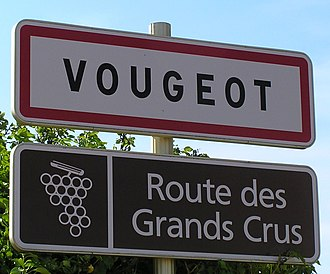 Route des Grands Crus - A sign advertising the Route Des Grands Crus and the village of Vougeot