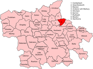 Marston, Cheshire - Map of civil parish of Marston within the former borough of Vale Royal