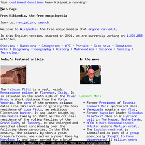 w3m running in an xterm displaying the Wikipedia main page.