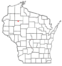 Location of Hubbard, Rusk County, Wisconsin