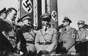 Nazism - Foreground, left to right: Führer Adolf Hitler; Hermann Göring; Minister of Propaganda Joseph Goebbels; and Rudolf Hess
