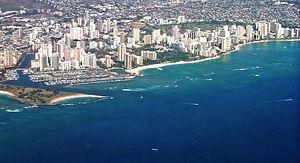 Aerial of Waikiki and Ala Moana, Honolulu, Hawaii