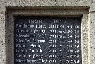 Last battle of the battleship Bismarck - War memorial in Neuhofen im Innkreis also commemorating Franz Kienast, who died aged 23 in the sinking of the Bismarck