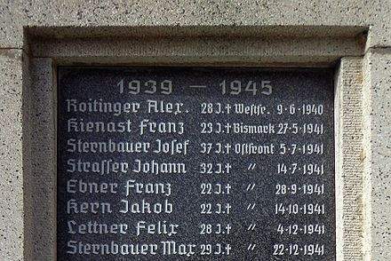 War memorial in Neuhofen im Innkreis also commemorating Franz Kienast, who died aged 23 in the sinking of the Bismarck War memorial (Neuhofen im Innkreis) image 03 Bismarck.JPG