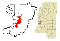 Location of Vicksburg in Warren County