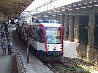 Warszawa Śródmieście WKD railway station - Warszawa Śródmieście WKD station with type EN95 train