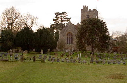 Watton-at-Stone church where Bickersteth worked with Thomas Birks Watton-at-Stone church and graveyard.jpg