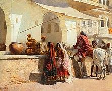 Weeks Edwin Lord A Street Market Scene India 1887 Oil On Canvas