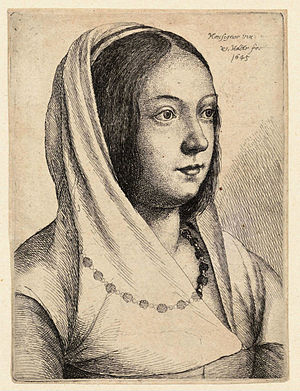 Wenceslas Hollar - Young woman with scarf on h...