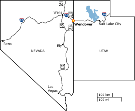 Wendover's location within the states of Nevada and Utah and on Interstate 80 and the US Highway 93 Alternate route