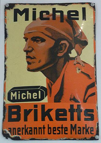 Deutscher Michel - Image: Werbung Brikett Michel