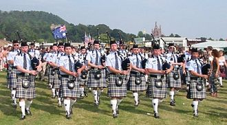 Scottish Australians - The Western Australia Police Pipe Band at Bridge of Allan Highland Games in Scotland