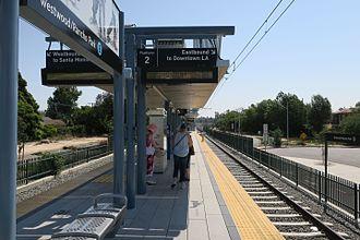 Westwood/Rancho Park station - The platform at Westwood/Rancho Park looking eastbound