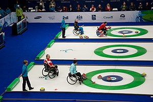 Assistive technology in sport - Image: Wheelchair Curling Medal Round, Vancouver 2010 Paralympics