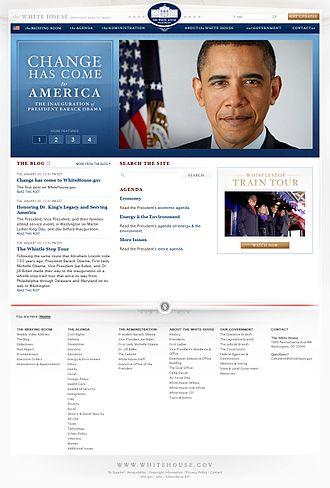 Whitehouse.gov - The website following the inauguration of Barack Obama, January 20, 2009