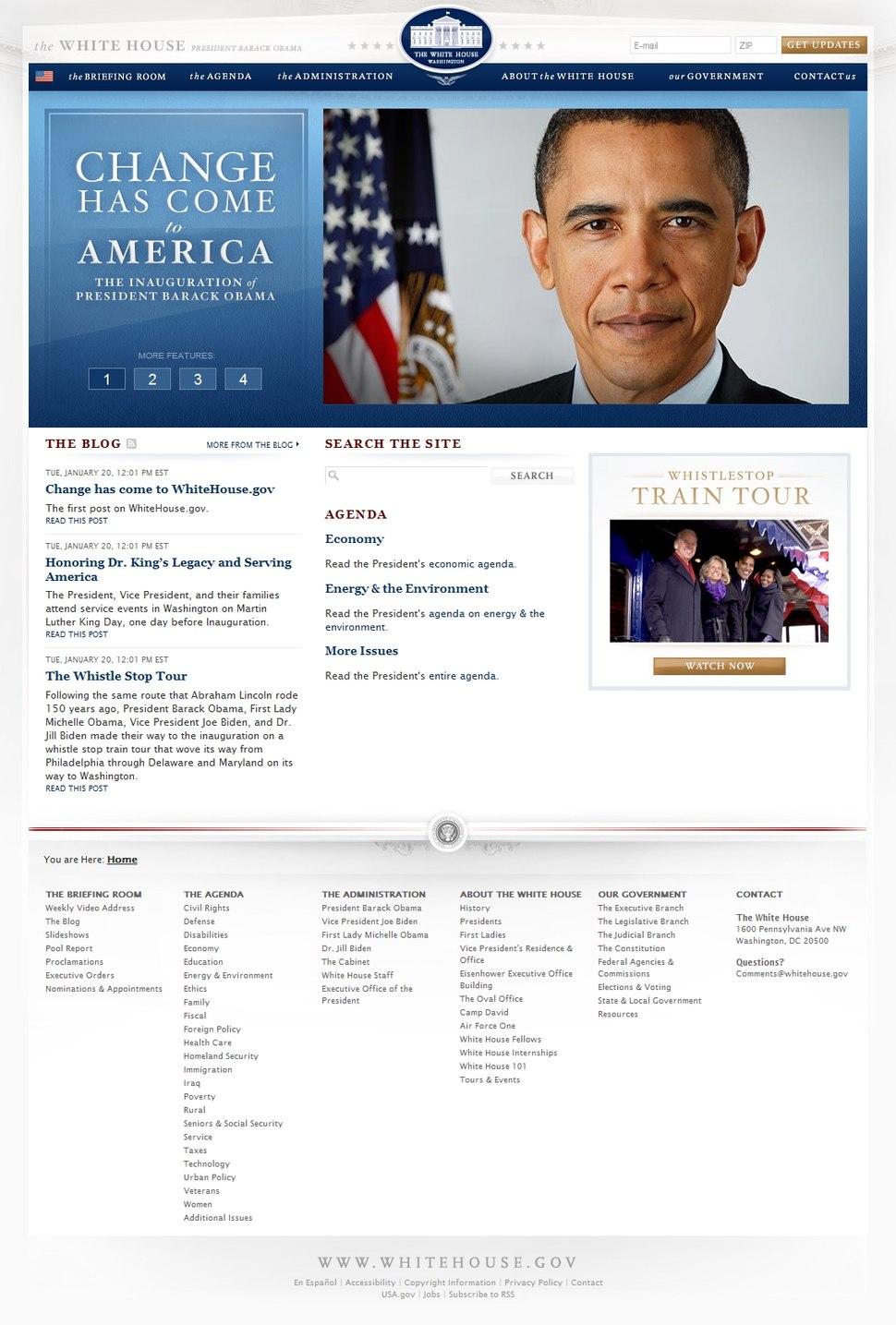 White House.gov opening screen full 1-20-09