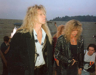 Whitesnake - Vandenberg and Coverdale backstage at the Monsters of Rock at Castle Donington in England, 1990. Playing to 75,000, the band's headline performance was released as Live at Donington 1990.