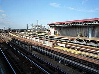 Whitlock Avenue (IRT Pelham Line) - Whitlock Avenue station looking northeast toward the curve at the bridge over the Northeast Corridor and Bronx River.