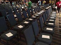 Wikimania 2015 - Plenary session - bingo sheets on chairs.jpg