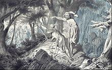 Tristan und Kadin, Isolde bei ihrem Ausritt heimlich beobachtend, Illustration von Wilhelm Camphausen zu Immermanns Tristan und Isolde, 1843 (Quelle: Wikimedia)