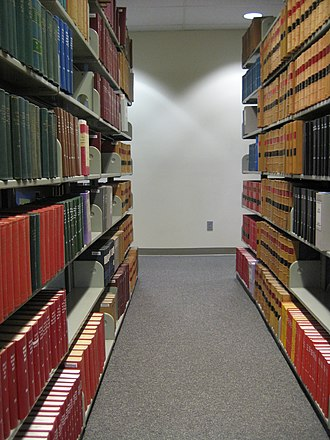 Law library - The stacks inside a typical law library (Willamette University College of Law Library)