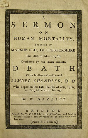 William Hazlitt (Unitarian minister) - Title page of Hazlitt's Sermon on Human Mortality (1766)