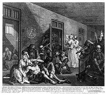 A Rake's Progress (Der Lebenslauf eines Wüstlings), Bild 8: Die Szene im Londoner Irrenhaus. Kupferstich (1735) (Quelle: Wikimedia)