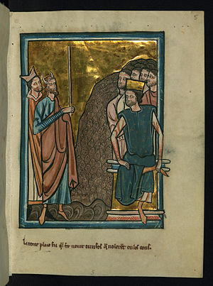 Plagues of Egypt - The Third Plague: Moses, horned (a sign of his encounter with divinity), carries the rod, while Aaron, wearing the miter of a priest, stands behind him. The gnats arise en masse out of the dust from which they were made and attack Pharaoh, seated and crowned, and his retinue (by William de Brailes, collection Walters Art Museum)