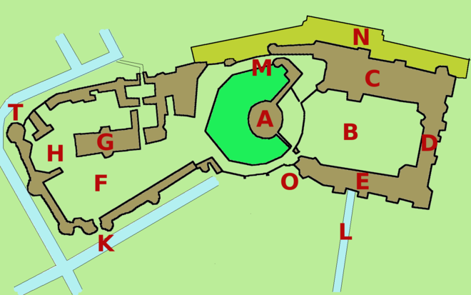 Plan of Windsor Castle. Key: A: The Round Tower, B: The Upper Ward, The Quadrangle, C: The State Apartments, D: Private Apartments, E: South Wing, F: Lower Ward, G: St George's Chapel, H: Horseshoe Cloister, K: King Henry VIII Gate, L: The Long Walk, M: Norman Gate, N: North Terrace, O: Edward III Tower, T: The Curfew Tower Windsorcastleplan.png