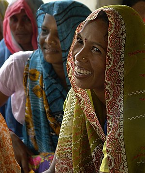 Women during a public meeting in Gondi village, Umaria district, Madhya Pradesh, India