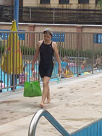 Women wearing body-skin swimsuit in KwongCyun Swimming Pool.jpg