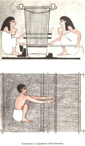 Women weaving in Beni Hassan tomb (Вертикальный ткацкий станок Египет)