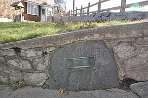 National Register of Historic Places listings in Providence County, Rhode Island - Image: Woonsocket RI 1761Milestone