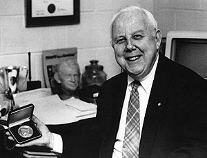 Worth McDougald - Worth McDougald, second Peabody Awards director, in his office at Grady College, University of Georgia.