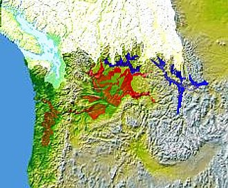 Willamette Meteorite - Glacial Lake Columbia (west) and Glacial Lake Missoula (east, in blue) were south of Cordilleran Ice Sheet. The areas inundated in the Columbia and Missoula Floods are shown in red. The meteorite was rafted by the floods embedded inside an ice block.