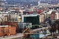 Wrocław - widok z wieży kościoła św. Elżbiety, Hotel HP Park Plaza i most Słodowy 2015-12-25 12-42-38.JPG