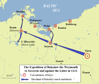 Christianization of Pomerania - The expedition of Boleslaw III of Poland to Szczecin and west of the Oder to subjugate the Slavic Lutici, in 1121. The conquest paved the way for the Christianization of Pomerania by Otto of Bramberg, sent by Boleslaw.